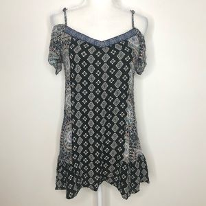 Band of Gypsies boho cold shoulder tunic top, SZ S